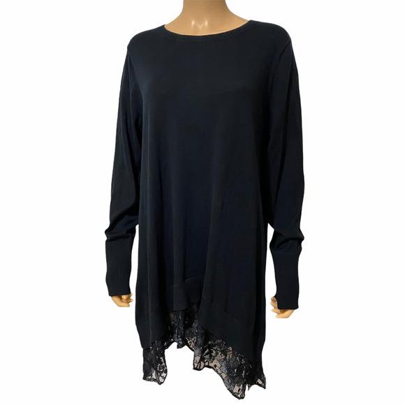 LOGO Lori Goldstein Top Cotton Cashmere Lace Trim